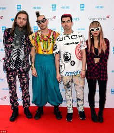 Performers: Joe Jonas, Jack Lawless, Cole Whittle, and JinJoo Lee of DNCE hit the red carp...