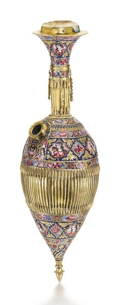 A large Qajar gold and enamelled ghalian bottle section and cup, Persia, 19th century