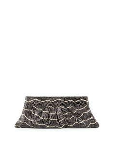 Louise Snake-Embossed Leather Clutch Bag, Black/Cream (Black/Ivory) - Lauren Merkin