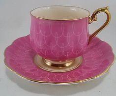 Vintage-Royal-Albert-Bone-China-England-Cup-and-Saucer-Pink-amp-Cream