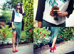 H&M Leaf Print Dress, Helmut Lang Drape Skirt, Bcbg Leopard Pony Hair Clutch, Asos Perspex Sunglasses
