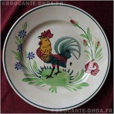 French ironstone plate Faience de Pexonne - assiette au coq