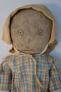Great embroidered face antique cloth doll