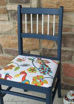 Colorful Bird Chair Makeover - girlinthegarage.net