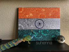 Indian flag canvas filled with intricate henna designs and patterns. Lightweight canvas material makes for easy hanging on any surface. Easy Mandala Drawing, Mandala Doodle, Mandala Art Lesson, Doodle Art Drawing, Art Drawings, Mandala Book, Moon Mandala, Art Sketches, Independence Day Drawing