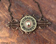 Shotgun Necklace. Victorian Tribal bullet jewelry, brass art deco finding, 12 Gauge shotgun shell. Steampunk gothic Christmas gifts under 50. $30.00, via Etsy.