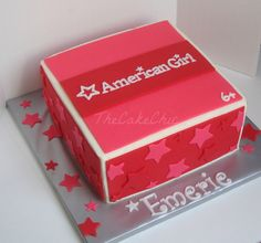 Birthday Cake Photos - American Girl themed cake.  Chocolate cake with whipped strawberry filling.
