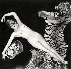 Pamela Green on a tiger rug by Zoltán Glass,