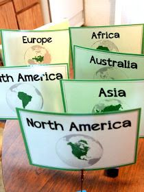 Fifth Grade Freebies: Continent Table Group Labels