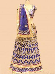 Royal Blue And Cream Silk Lehenga Choli With Handwork  www.saree.com