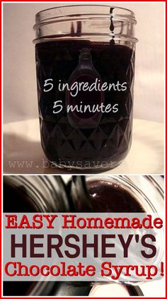 Chocolate Syrup Copycat recipe for Hersheys chocolate syrup. With NO FCS Just 5 ingredients and it only takes 5 minutes!Copycat recipe for Hersheys chocolate syrup. With NO FCS Just 5 ingredients and it only takes 5 minutes! Chocolate Syrup Recipes, Homemade Chocolate Syrup, Homemade Syrup, Homemade Seasonings, Hershey Chocolate, Homemade Sauce, How To Make Chocolate, Homemade Cake Mixes, Chocolate Milk Mix