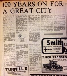 '100 Years on for Great City of Peterborough', Evening Telegraph feature, March 1974