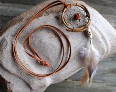 Dreamcatcher Necklace - Rudraksha seed - Boho - Small Dream Catcher - Necklace - Boho Jewelry - Festival Jewelry - Feather Necklace