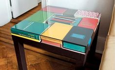 :Unique Book Table Top. Glass over Ikea table
