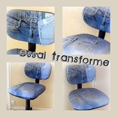 Recup'Jeans Old Jeans Recycle, Denim Button Up, Button Up Shirts, Denim And Co, Trash To Treasure, Reuse, Repurpose, Couture, Fabric