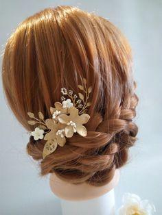 Gol Bridal Hair Piece Leaf Hair Pins