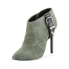 Charles David Valle Suede High-Heel Bootie, Dark Gray ($179) ❤ liked on Polyvore featuring shoes, boots, ankle booties, high heel booties, high heel boots, pointy toe bootie, suede booties and suede high heel boots
