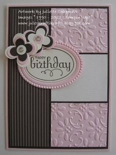Pretty colors--Stampin Up's finial press embossing folder, designer frames embossing folder, floral fusion sizzlits, perfect punches stamp set , and coordinating ex large oval punch.