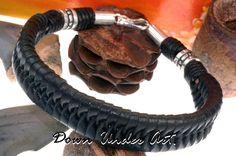 2B-633 Sterling Silver & Kangaroo Leather New  Wristband Bangle Men Bracelet.