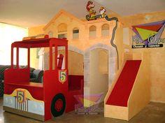 Busca imágenes de diseños de Habitaciones infantiles estilo translation missing: mx.style.habitaciones-infantiles.moderno}: Fabulosa litera casita bombero. Encuentra las mejores fotos para inspirarte y y crear el hogar de tus sueños.