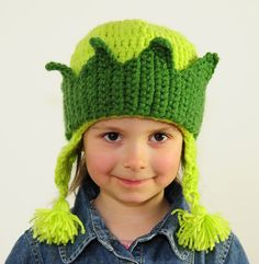 Forest Princess, Fairy, Girl's Hand Crochet Green Hat with Crown - Baby, Todler, Child, made by PrincesaAnastasia. $20.00, via Etsy.