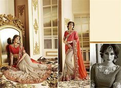 Red Orenge Plain And Cream Patch Padding Chiffon Saree With Blouse Sarees on Shimply.com