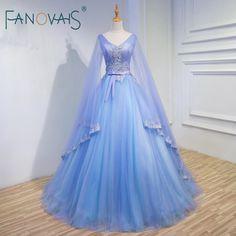 Medieval Wedding Dress Wide Sleeves Tulle Ball Gown #weddingdress #medievaldress #widesleevesdress #ballgown #bridalgown #tullegown #bluepurple #Fanovais
