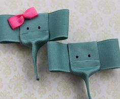 Elephant Hair Clip Ribbon Scultpure Clip Baby clip by mommyandco