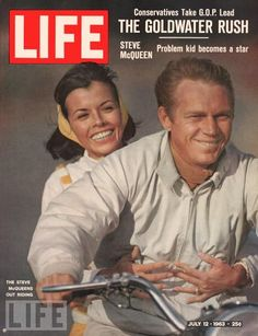 Naturally, when avid motorcyclist and racer McQueen poses for a June 1963 LIFE magazine cover shoot, it's on a bike. Holding on behind him is his wife, actress Neile Adams.  Photo: John Dominis