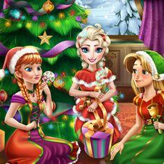 Festa de Natal das Princesas - As belas princesas Elsa, Anna e Rapunzel estão organizando uma festa de Natal e conta com sua ajuda. Decore a árvore de natal. Aplique algumas máscaras faciais, tratamentos capilares e escolher roupas novas, perfeita para esta noite. Fique com as meninas até que eles abrem seus presentes e comemore esta noite especial.