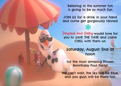 Frozen Pool Party Save the Date cards