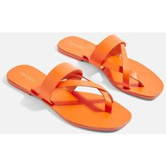 TopShop Harper Sandals ($35) ❤ liked on Polyvore featuring shoes, sandals, orange, orange flat shoes, leather sandals, orange shoes, genuine leather shoes and real leather shoes