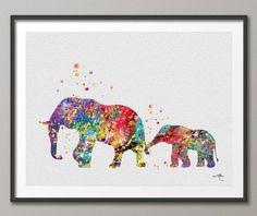 Elefante familia 2 arte imprimir acuarela pintura por CocoMilla