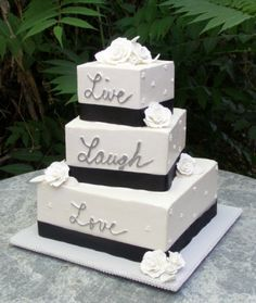 black and pink square wedding cakes
