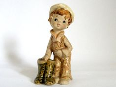 Vintage Stoneware Little Boy Figurine and his Green by mish73, £6.00
