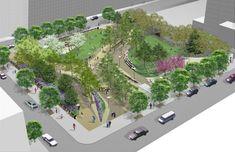 pershing square park renovation - Google Search Underground Garage, Urban Park, Entrance Design, Brooklyn New York, Parking Design, Garage Plans, Car Garage, Garage Design, Landscape Architecture