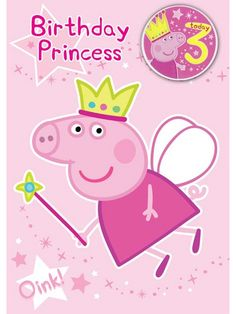 Peppa Pig Birthday Card for your little fairy! More peppa pig party supplies at partyweb. Invitacion Peppa Pig, Cumple Peppa Pig, 3rd Birthday Parties, Birthday Cards, Peppa Big, Peppa Pig Party Supplies, Peppa Pig Birthday Cake, Kids Cards, Birthday Decorations