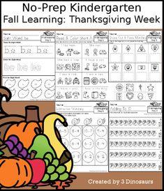 3 Dinosaurs - Fall Learning: Kindergarten Thanksgiving Week Community Helpers Kindergarten, Kindergarten Learning, Thanksgiving Activities For Kids, Kindergarten Thanksgiving, Hands On Activities, Book Activities, School Week, Word Problems, Learn To Read