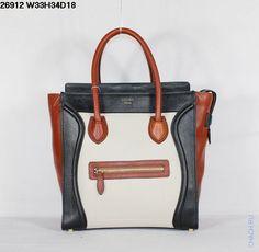 Сумка Celine Luggage черная с белой и красной отделкой из натуральной кожи