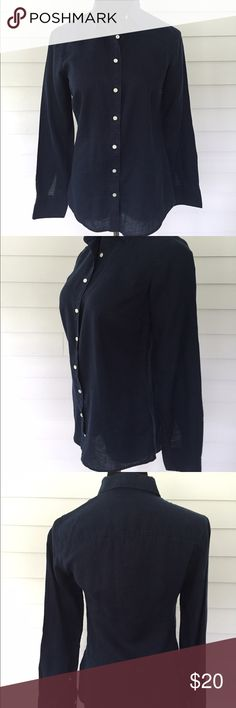 "J. Crew perfect fit navy linen button down--size 2 100% linen.  Length: 27""/Bust: 17.5""/Arms:24"".  Size 2. Beautiful condition! J.Crew black label--higher end quality of this brand. J. Crew Tops Button Down Shirts"
