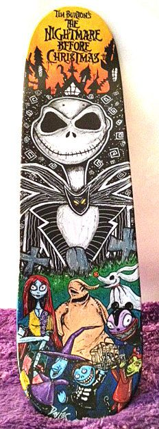 Nightmare Before Christmas Skateboard Art–Nightmare Before Christmas Painting-Jack Skellington–Halloween Décor-Skateboard Deck Art by TimothyDaviesArt on Etsy