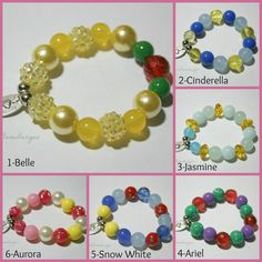 Bracelets for Kids, Children's Bracelets, Fun Jewelry for Girls, Disney Princess Inspired Bracelets