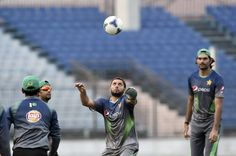 Shahid & Irfan playing football during net session