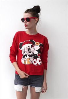 Vintage 1990's Red Mickey Mouse Jumper