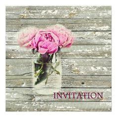 rustic country rose mason jar wedding invitation