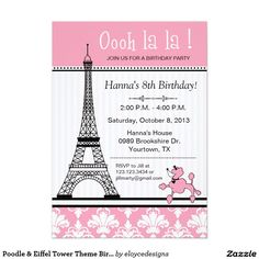 Eiffel tower birthday invitations any color scheme get these eiffel tower birthday invitations any color scheme get these invitations right now design yourself online do girls birthday party invitations solutioingenieria Choice Image