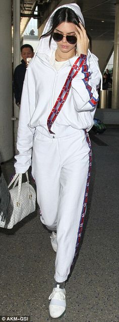 Kendall Jenner is glammed down in track suit #dailymail