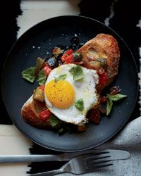 Ratatouille Toasts with Fried Eggs -  This is an ideal make-ahead brunch recipe; the luscious ratatouille tastes even better when made the day before.