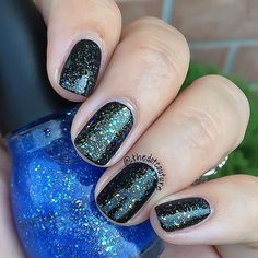 My #notd - @sinfulcolors_official Hottie over Black on Black! A polish so beautiful it inspired a blog post (link in bio ).