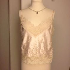 Euc Satin Lace Adjustable Camisole Top Size Lg